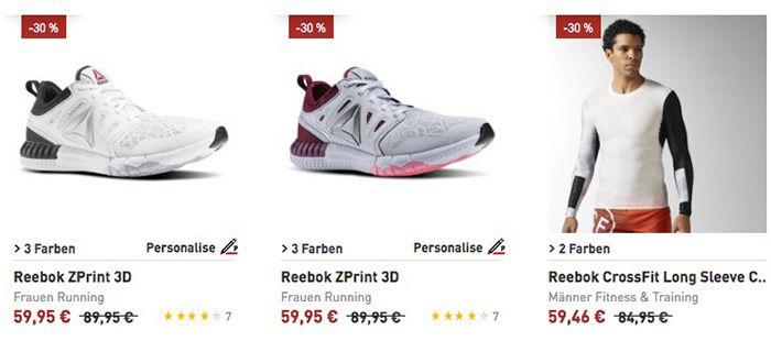 Reebok Sale bis zu 50% Rabatt + weitere 20% dank Gutschein + VSK frei ab 75€