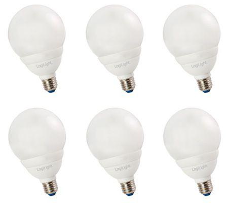6er Pack LogiLight Energiesparlampen E27 15 Watt für 7,55€