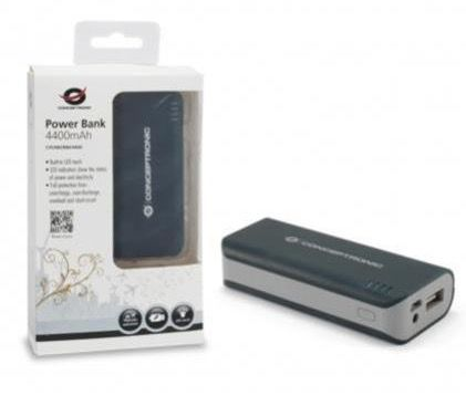 Conceptronic USB PowerBank 4400mAh mit LED Taschenlampe für 7,99€ (statt 12€)