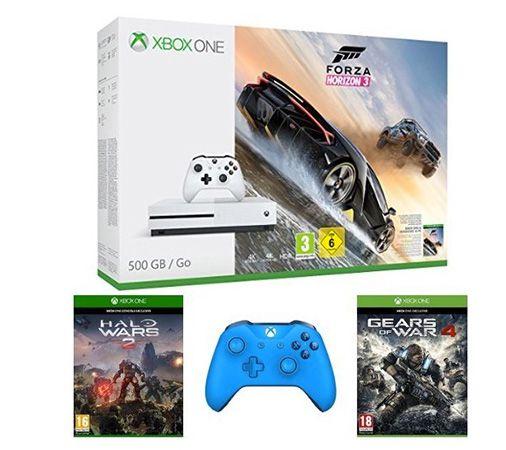 Xbox One S 500GB + Forza Horizon 3 + Halo Wars 2 + Gears of War 4 + 2. Controller für 334,30€ (statt 422€)