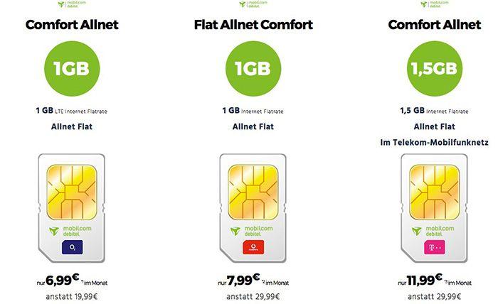 mobilcom debitel Handy Tarife im o2, Vodafone oder Telekom Netz ab 6,99€ mtl.