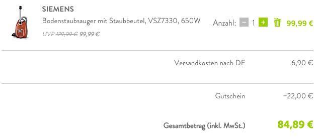 Absoluter Knaller! 22% Gutschein für brands4friends   Siemens Staubsauger für 85€ (statt 157€)