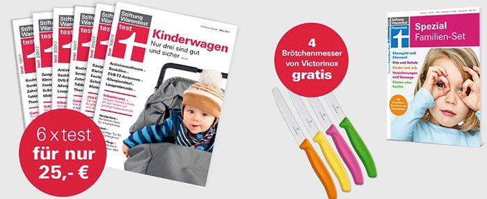 6 Ausgaben Stiftung Warentest für 25€ (statt 34,50€) + gratis 4 Victorinox Messer + gratis 1 Ausgabe Finanztest Spezial