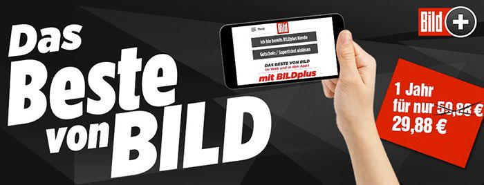 BILDplus Digital Jahresabo inkl. Bundesliga bei BILD für 29,88€ (statt 60€)