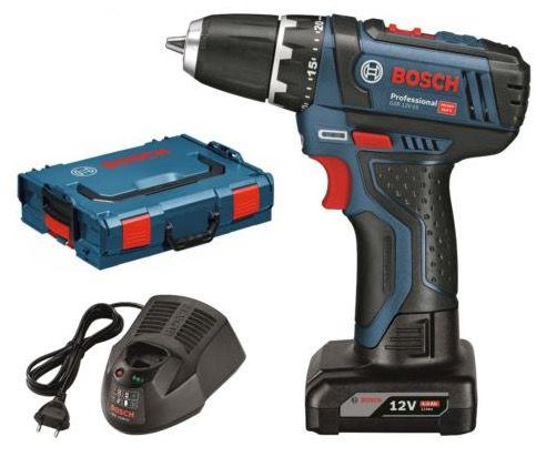 Bosch GSR 12 V 15 Akkuschrauber + 2 x  4 Ah Akku + Tasche für 99,90€