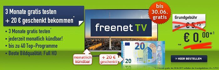 KNALLER! freenet TV (DVB T2) 3 Monate GRATIS + 20€ geschenkt bekommen