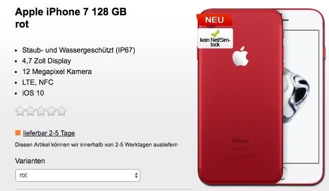 Das neue (rote) iPhone 7 mit 128GB für 1€ (statt 859€) + Vodafone LTE Tarif für 39,99€ mtl.