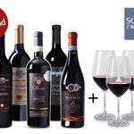 6 prämierte Weine aus Italien + 4 Weingläser nur 45€
