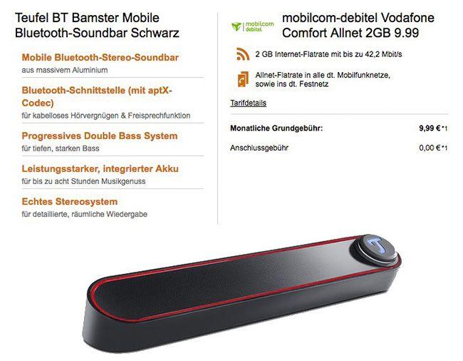 Vodafone Comfort Allnet Flat mit 2GB für 9,99€ mtl. + Teufel BT Lautsprecher für 9€ (statt 99€)