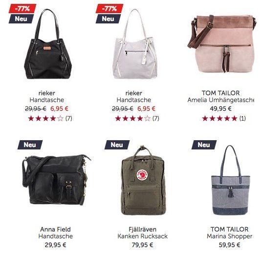 Nur heute! 20% Rabatt auf alle Taschen bei Mirapodo   z.B. rieker Handtasche ab 5,55€