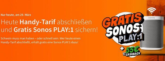 Nur heute! Vodafone Red L mit 12GB LTE für 34€ mtl. + gratis Sonos Play:1 (Wert 211€)