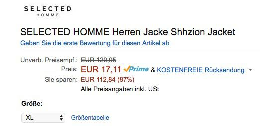 Ausverkauft! Selected Homme Herren Jacke (S bis XL) für 17,11€ (statt 120€)