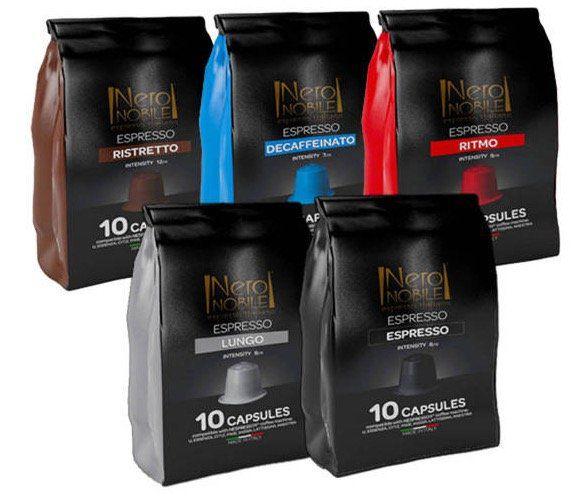 50er Pack NeroNobile Espresso Italiano Kaffeekapseln für 12,95€   nur 0,26€pro Kapsel