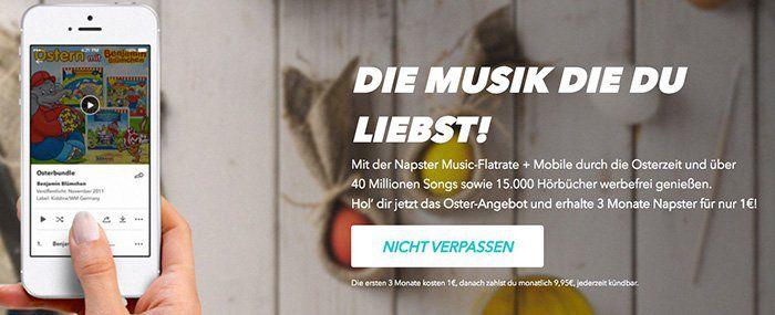 Wieder da! 3 Monate Napster Musik Flat für 1€ (Neukunden)   über 40 Millionen Songs im Stream   TIPP!
