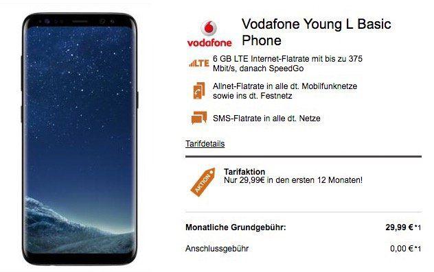 Vodafone Young Allnet mit 6GB LTE + Samsung Galaxy S8 für 35,19€ mtl. oder iPhone 7 für 37,19€ mtl.