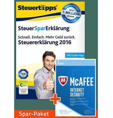 SteuerSparErklärung 2017 für das Steuerjahr 2016 + McAfee Internet Security 2017 nur 19,90€ (statt 32€)