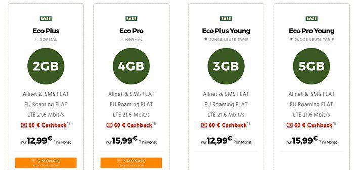 BASE Eco Tarife mit bis zu 5GB LTE + Allnet Flat ab 12,99€ mtl. + 3 Monate keine Grundgebühr + 60€ Cashback