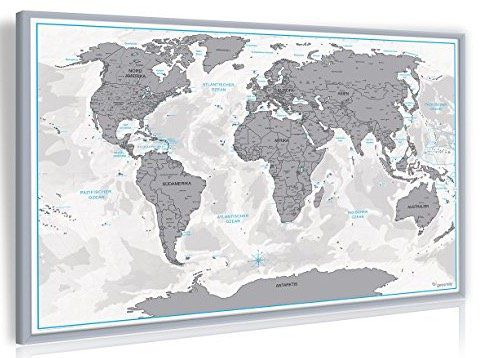 XXL Design Rubbel Weltkarte Echt Holz Rahmen auf Pinnwand für 12,97€ inkl. VSK