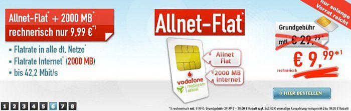 Vodafone Allnet Flat mit 2GB für 9,99€ mtl.