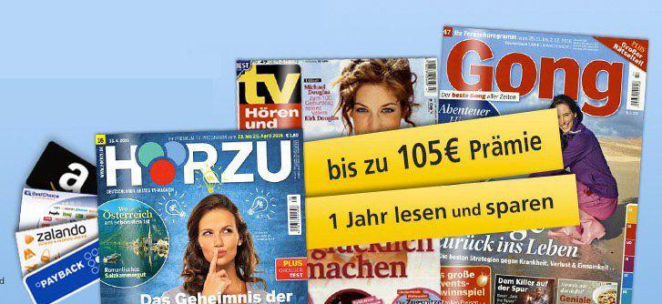 TV Zeitschriften Jahresabos mit guten Prämien   HÖRZU, Gong und TV hören und sehen