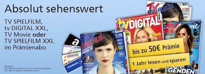TV Zeitschriften mit bis zu 50€ Prämie   TV Spielfilm, TV Movie etc.