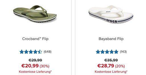 Crocs mit bis zu 50% Rabatt auf ausgewählte Schuhe + 10% Gutschein + VSK frei
