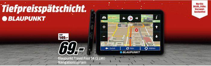 Media Markt Tiefpreisspätschicht   BLAUPUNKT TravelPilot 54 CE LMU   Zentraleuropa Navi für 69€