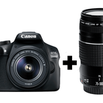 CANON EOS 1300D Spiegelreflexkamera + EF-S 18-55mm + 75-300mm Objektiv für 359€ (statt 519€) + 25€ Cashback