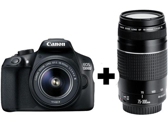 CANON EOS 1300D Spiegelreflexkamera + EF S 18 55mm + 75 300mm Objektiv für 359€ (statt 519€) + 25€ Cashback