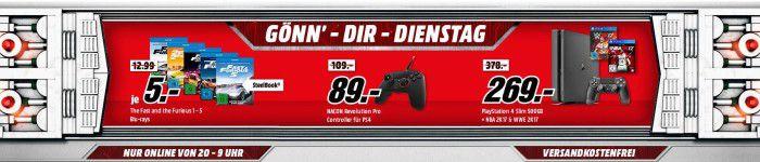 SONY PlayStation 4 Slim 500GB + NBA 2K17 + WWE 2K17 für 269€   im Media Markt Dienstag Sale