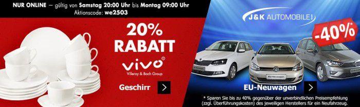 Karstadt Kracher mit z.B. 20% Rabatt auf Erotik Artikel, TomTailor Bekleidung, VIVO (Villeroy&Boch) Geschirr und mehr ...