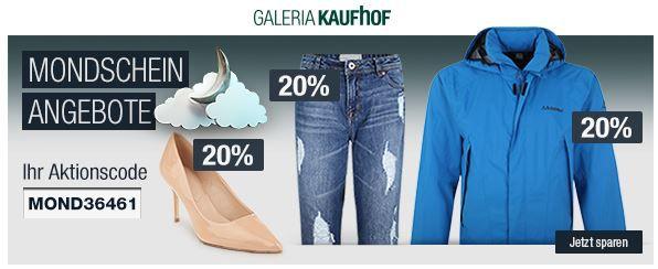 20% Rabatt auf Steiff, Damen Schuhe & Jeans uvm.   Galeria Kaufhof Mondschein Angebote