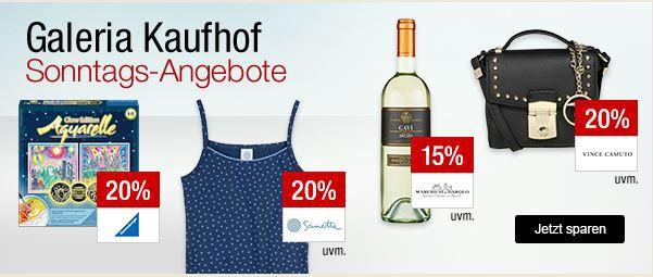 Galeria Kaufhof Sonntagsangebote   z.B. 20% auf Handtaschen, Spielwaren von Ravensburger, Fanartikel und Trikots und mehr ...