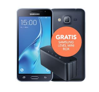 BASE Allnet Flat + 3GB LTE + Smartphone ( Samsung Galaxy J3 (2016) + Level mini Box) für nur 15,99€ mtl.