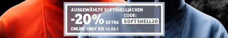 Softshelljacken Sale mit bis zu 63% Rabatt + 20% Extrarabatt bei SportScheck   z.B. Jack Wolfskin