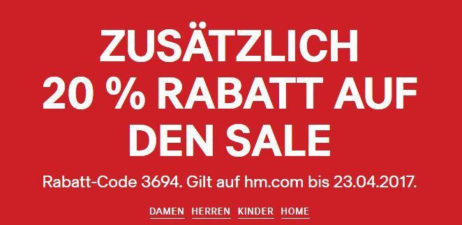 H&M: 20% extra Rabatt auf den Sale   nur heute!