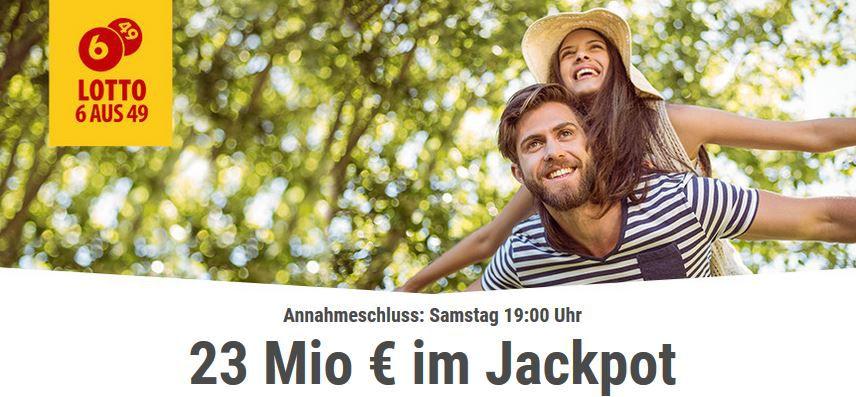 Lotto 23 Millionen TOP! 6 Lottofelder 6 aus 49 für nur 1€ (Jackpot 23 Mio.)   für Tipp24 Neukunden!