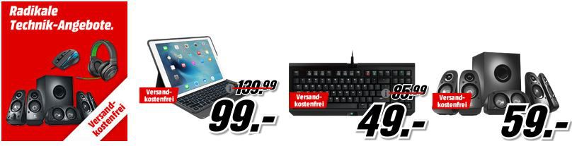 Media Markt radikale Technik Angebote: u.a.  RAZER BlackWidow Tournament Tastatur statt 87€ für 49€