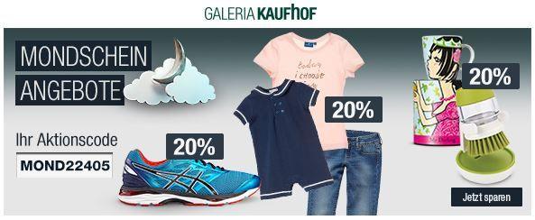 20% Rabatt auf ausgewählte Sportbekleidung, Spielwaren, Haushaltswaren uvm.   Galeria Kaufhof Mondschein Angebote