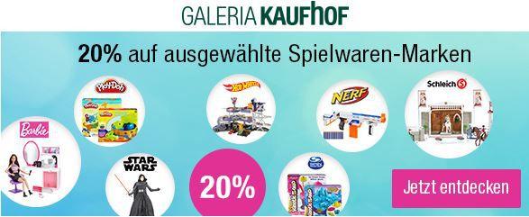 20% Rabatt auf ausgewählte Spielwaren Marken wie BARBIE, HOT WHEELS, Star Wars, Nerf, PLAY DOH, Kinetic und Super Sand sowie Schleich