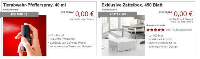 Druckerzubehör ohne Mehrwertsteuer + 3 gratis Artikel (z.B. Tierabwehr Pfefferspray, 40 ml) ab 5€ MBW bis Mitternacht!