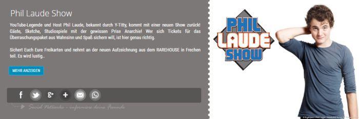 """Freikarten für """"Phil Laude Show"""" am 30. März in Frechen"""