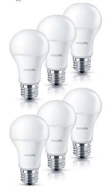 Philips: Dimmbare 6W LED Lampe E27   6er Pack für 14,99€