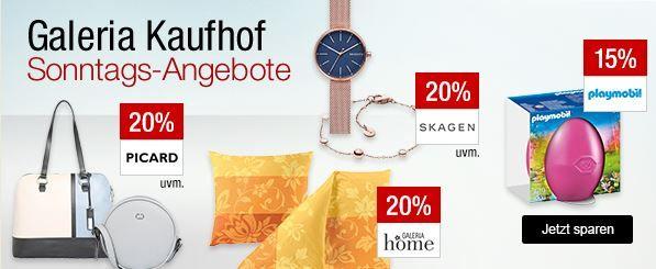 Galeria Kaufhof Sonntagsangebote   z.B. 20% Rabatt auf ausgewählte Uhren, Handtaschen, Sportmarken