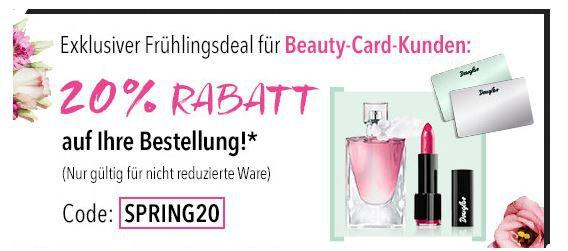 SPRING20 Beauty Friday bei Douglas mit 20% Rabatt bis Mitternacht   nicht im Sale