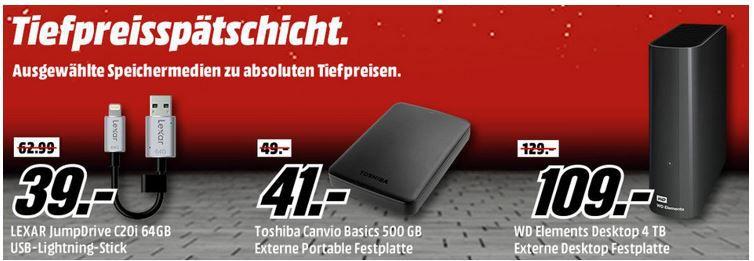 Media Markt Speicher Tiefpreisspätschicht   günstige SSDs, USB Sticks und Speicherkarten
