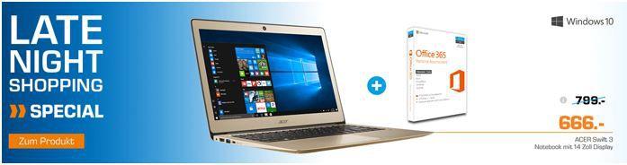 ACER Swift 3   14 Notebook mit Core i5, 8GB RAM + 256GB SSD für 666€