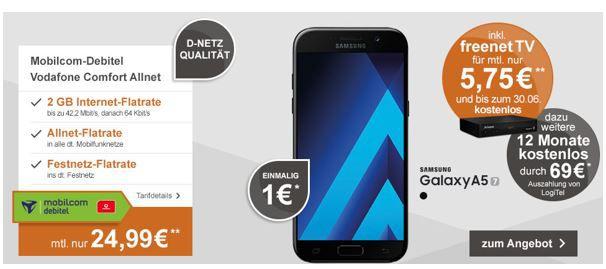 Gratis freenet TV (DVB T2) für 1 Jahr + Samsung Galaxy A5 (2017) + Vodafone Allnet mit 2GB für 24,99€