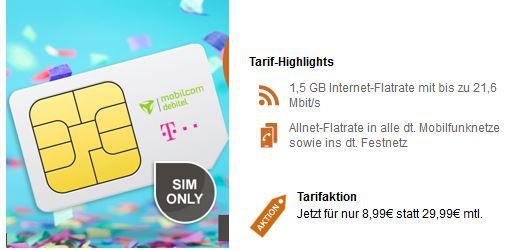 Telekom Allnet Flat mit 1,5GB für nur 8,99€ mtl.