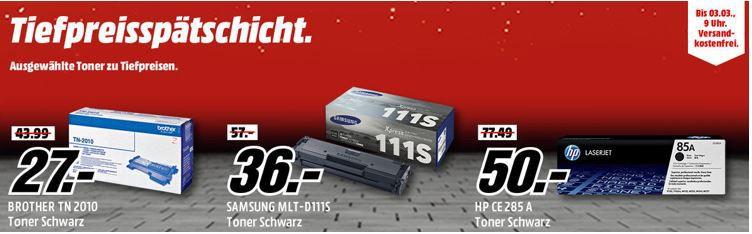 Media Markt Toner Tiefpreisspätschicht   u.a. BROTHER TN 2010 Tonerkartusche Schwarz für 27,